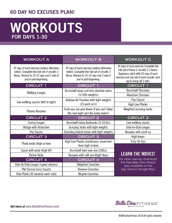 60 Day No Excuses Workout Plan